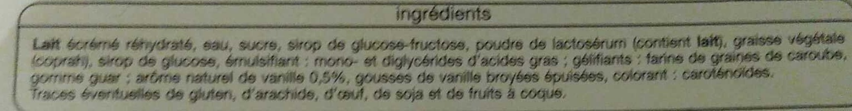 Glace vanille - Ingrédients