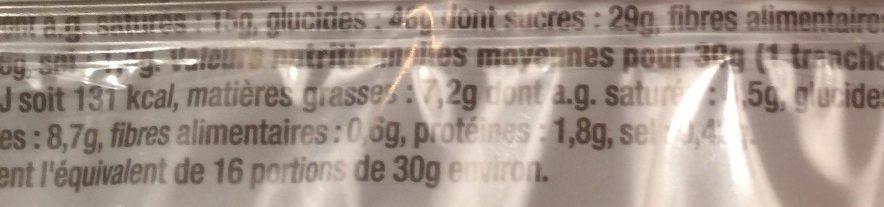 Quatre-Quarts - Informations nutritionnelles - fr