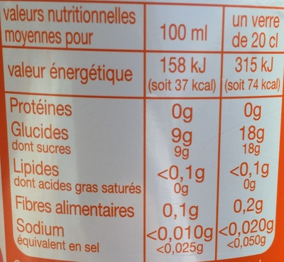 Diabolo Pêche à l'eau de source - Nutrition facts - fr