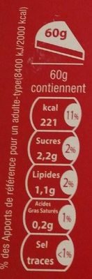 Cannelloni Nature - Informations nutritionnelles - fr