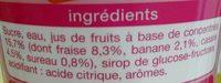 Sirop de fraise banane - Ingredients - fr
