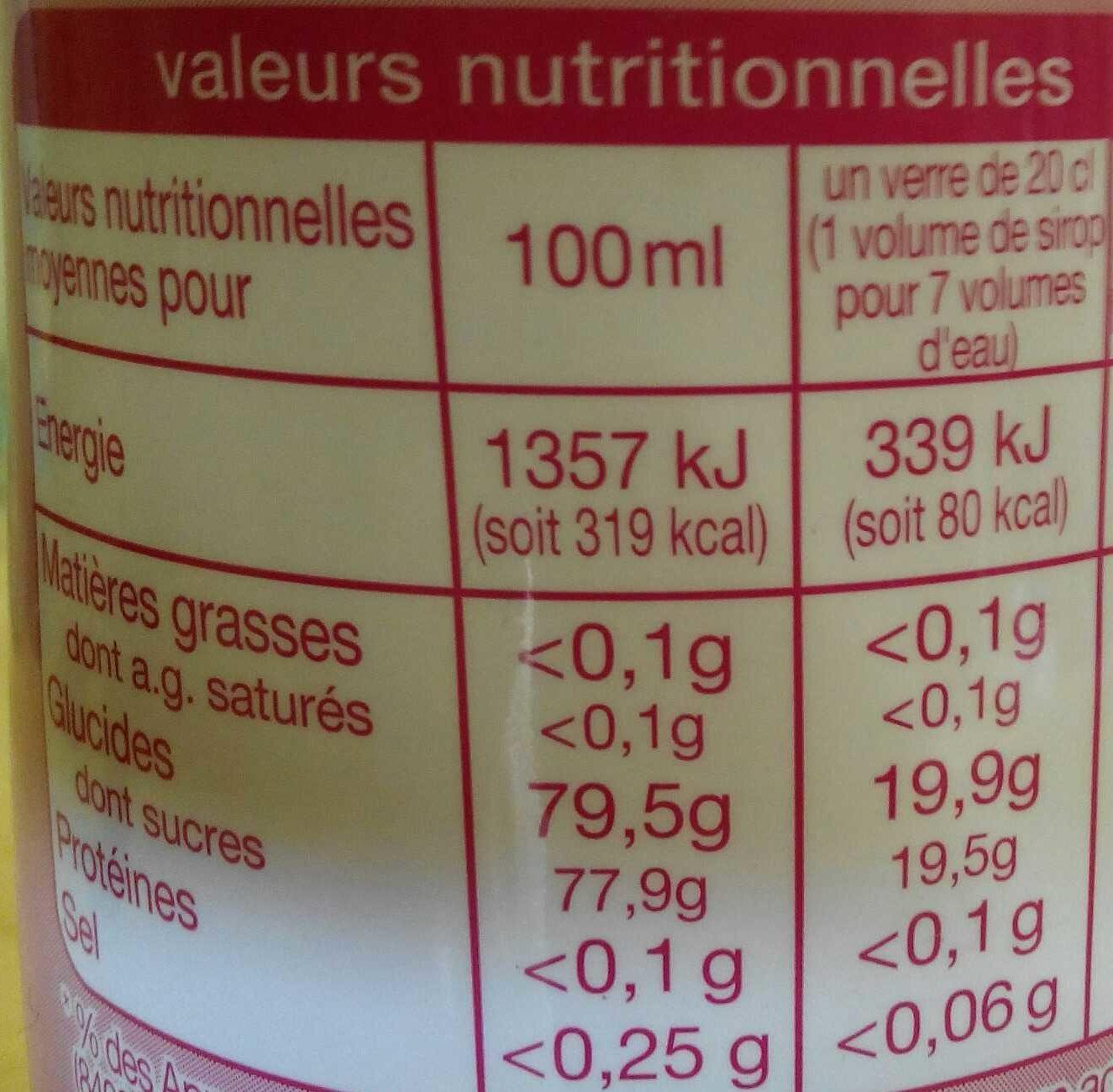 Sirop de fraise banane - Nutrition facts - fr