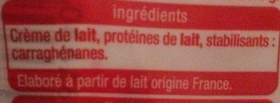 Crème entière fluide - Ingrédients - fr