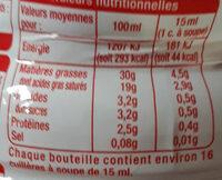 Crème entière fluide - Informations nutritionnelles - fr