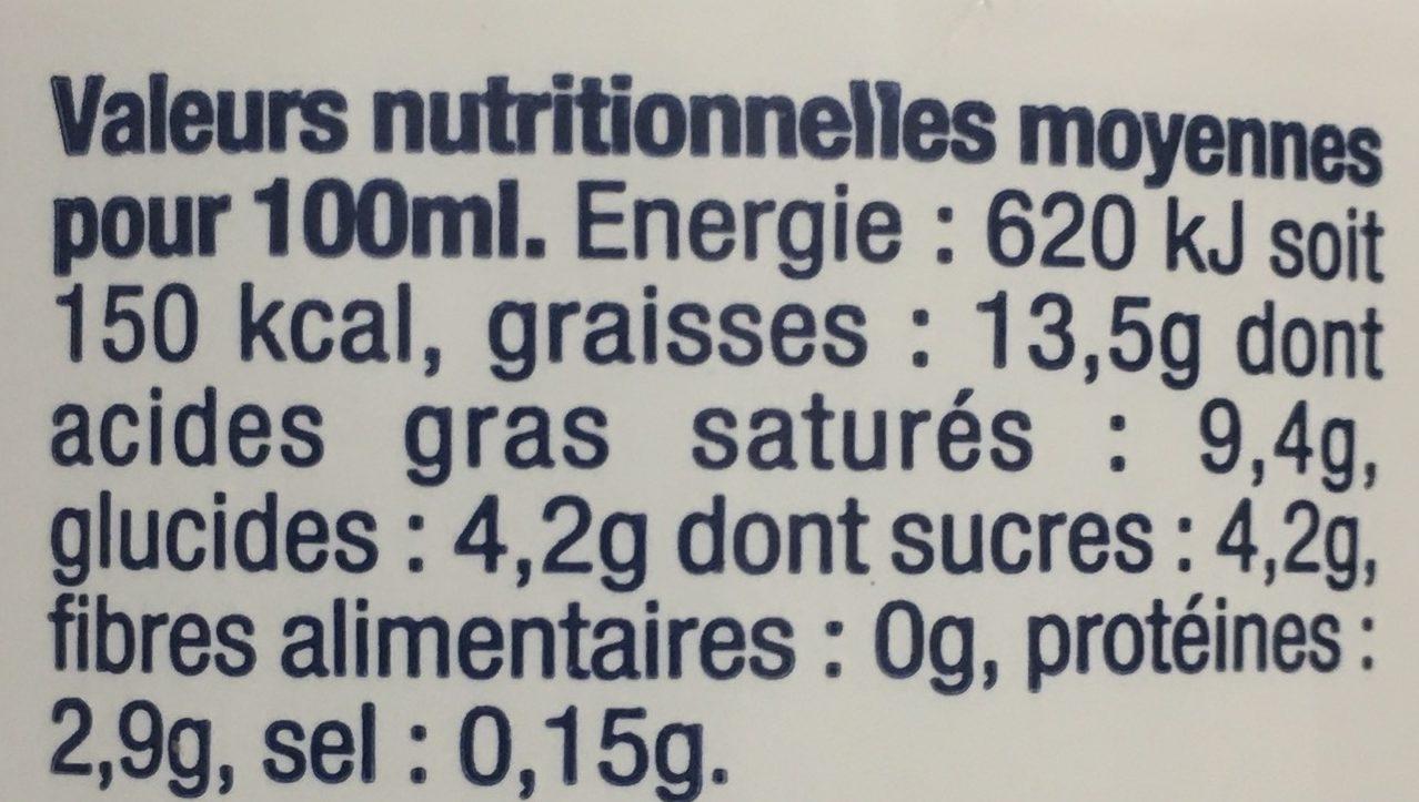 Creme Fleurette Légère - Informations nutritionnelles - fr