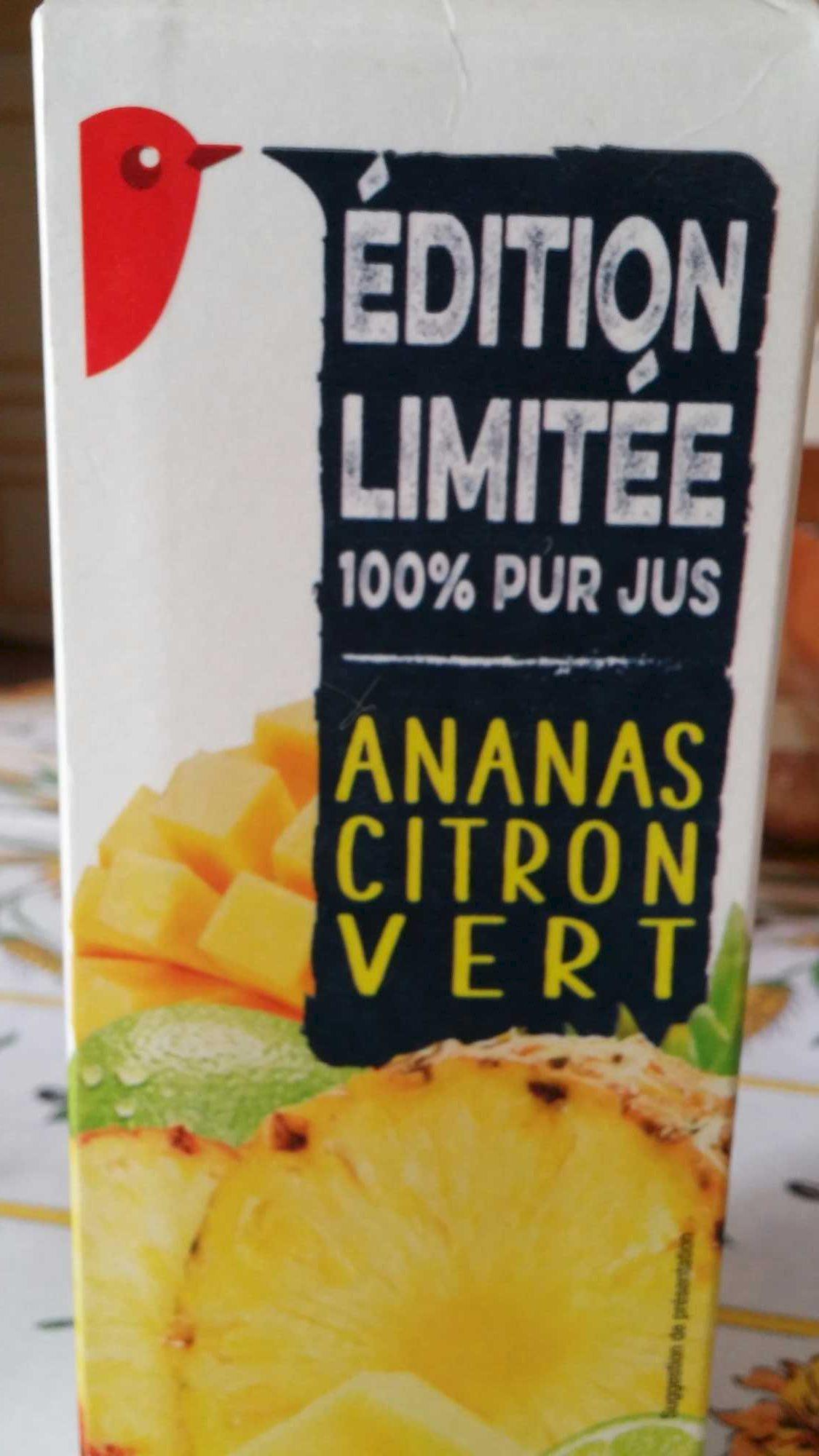 100 %  pur jus ananas - citron vert - Produit