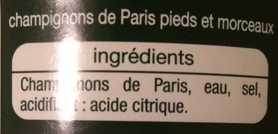 Champignons pieds et morceaux - Ingrédients - fr