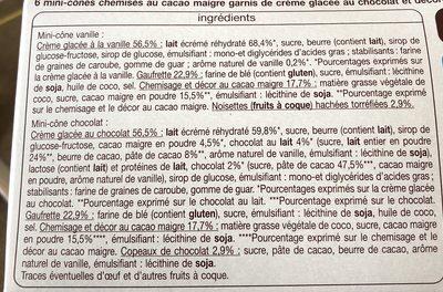 Mini Cône Chocolat - Ingredients
