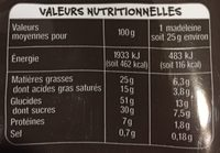 Madeleines Pur Beurre Nappés Chocolat Noir - Voedingswaarden