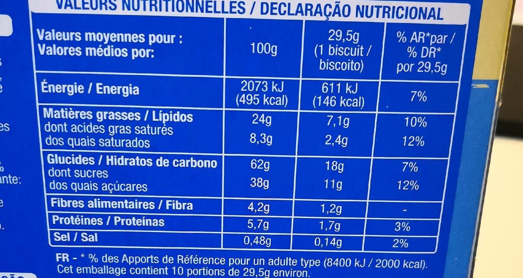 Mon goûter croquant chocolat lait - Nutrition facts - fr