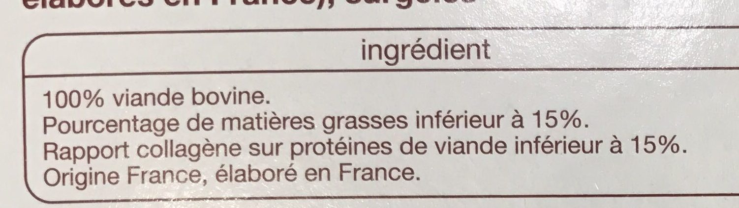 Steaks hachés 15% MG - Ingrédients