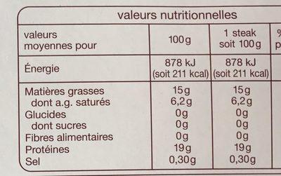 Steaks hachés 15% MG - Informations nutritionnelles
