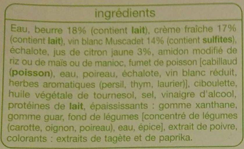 Sauce beurre citron portionnable - Ingrédients - fr