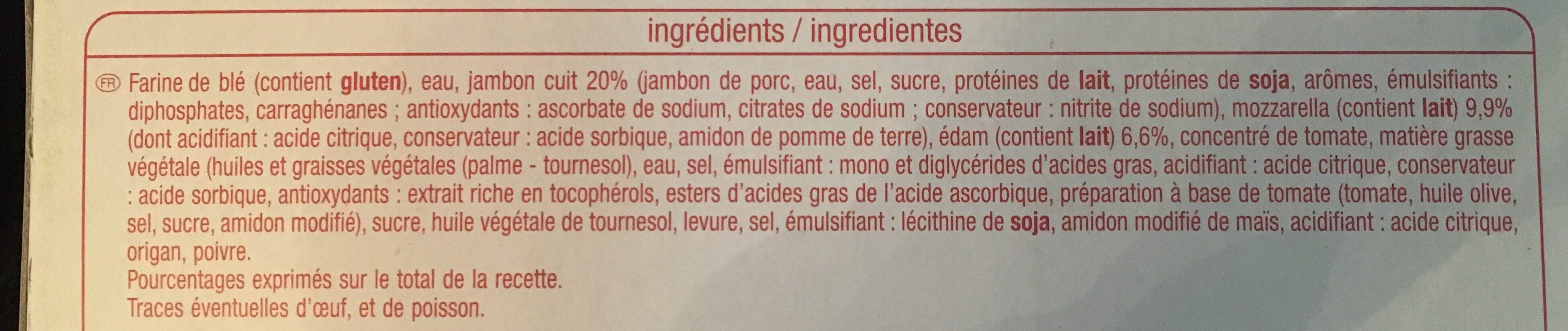 Mini pizza jambon fromage x9 - Ingrediënten - fr