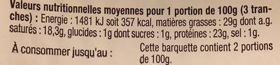 L'Oiseau - Morbier en tranchettes pour repas raclette - Informations nutritionnelles - fr