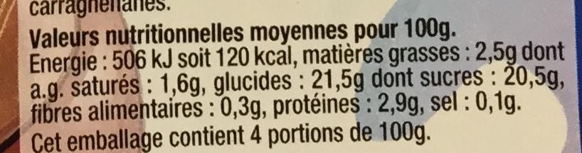 Dessert lacté gélifié au chocolat - Nutrition facts - fr