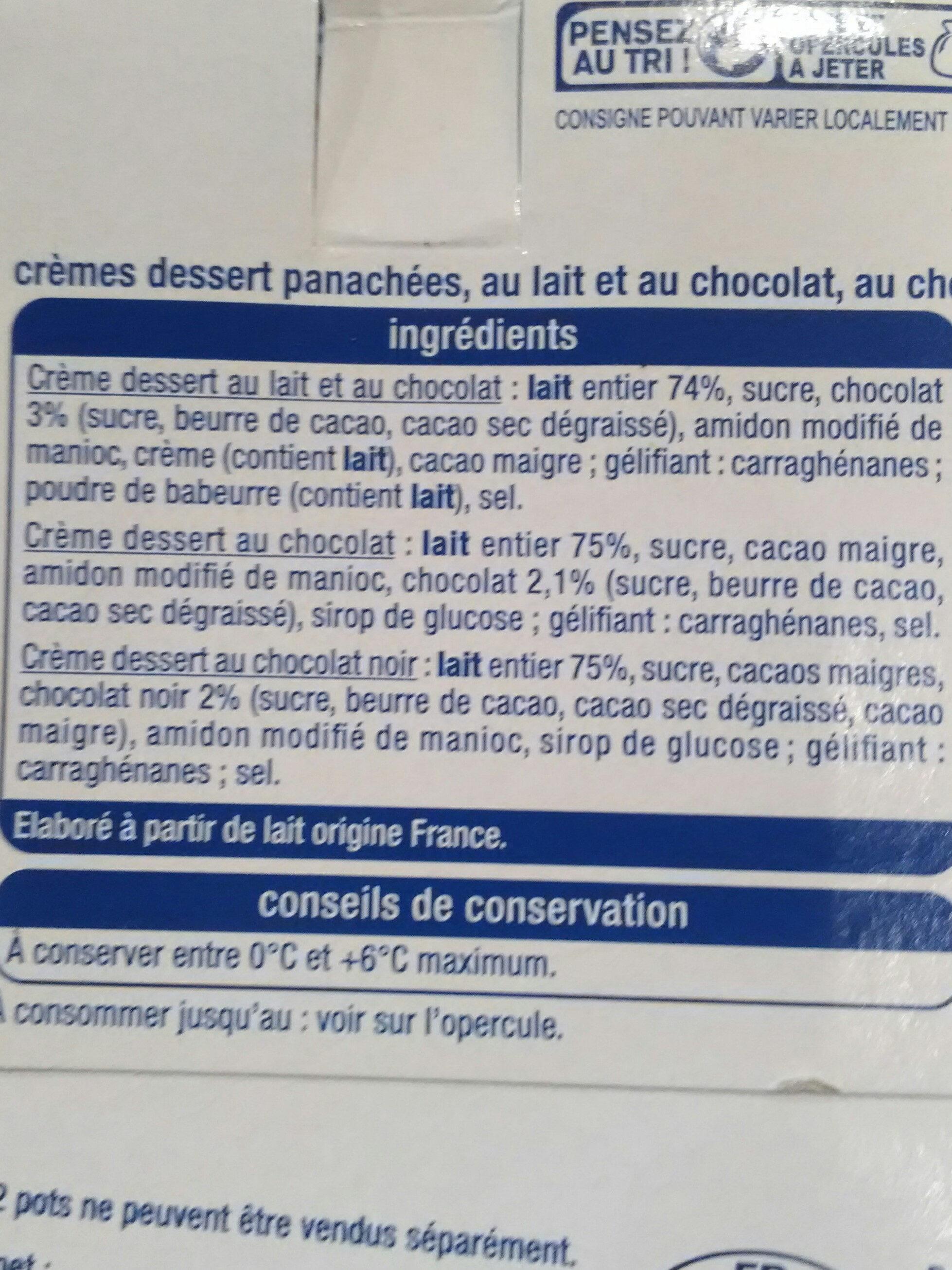 Crème dessert 3 Chocolats - Ingrédients