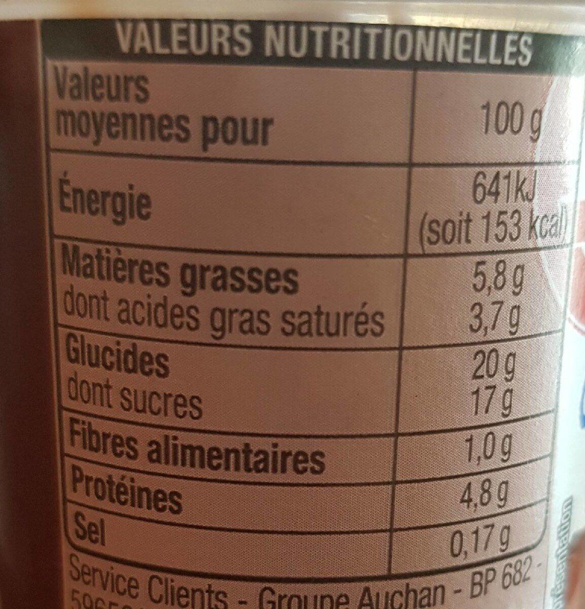 Creme dessert chocolat - Nutrition facts - fr