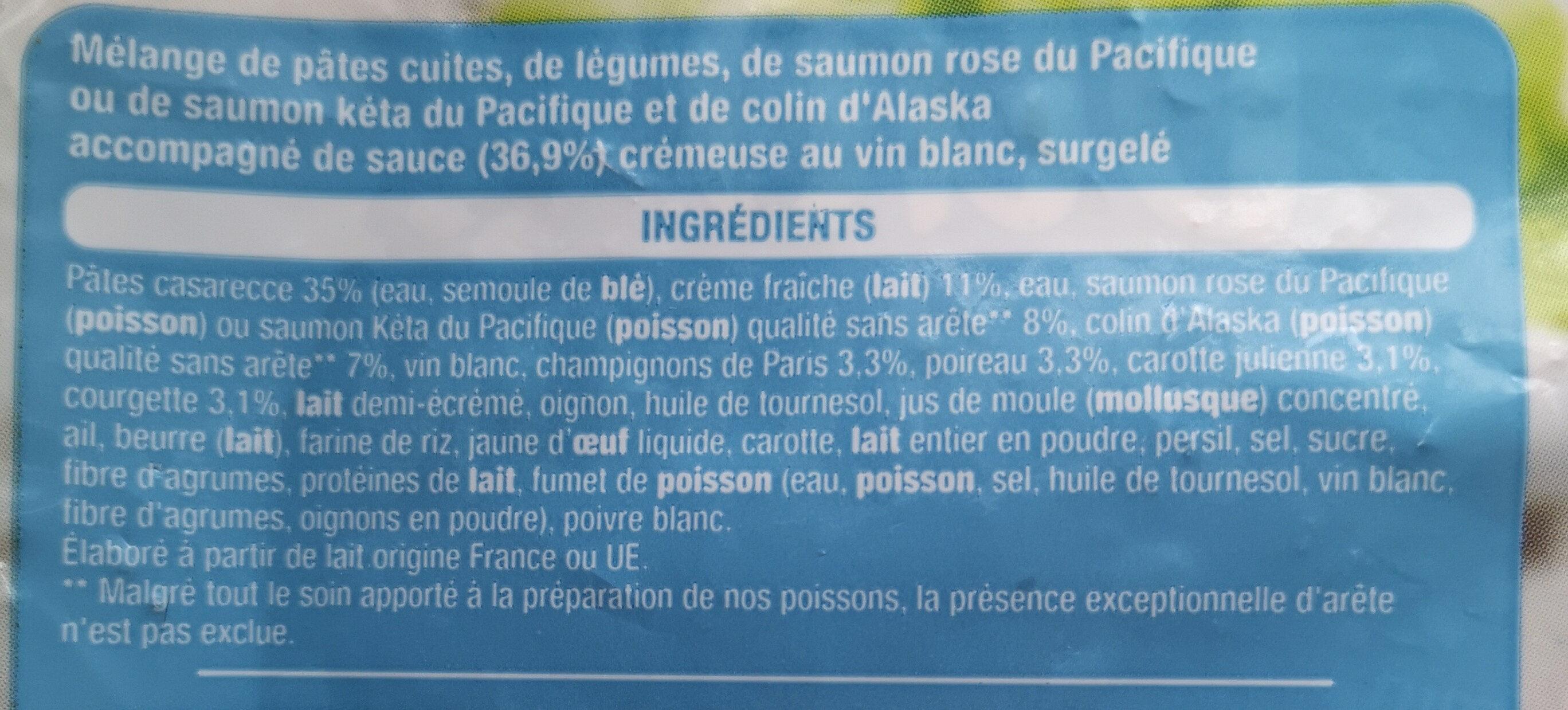 Pâtes et duo de poissons - Ingrediënten - fr