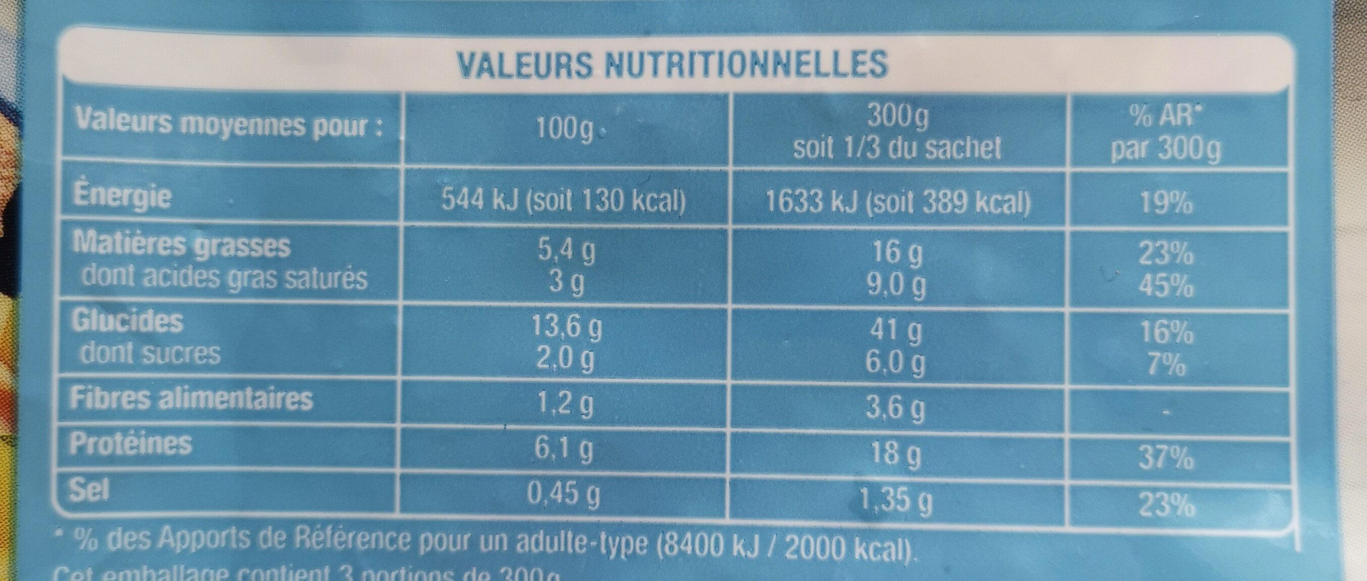Pâtes et duo de poissons - Voedingswaarden - fr