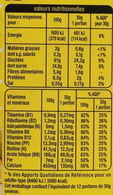 Golden Crack au miel - Informations nutritionnelles