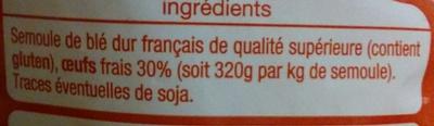 Pâtes d'Alsace Papillons (7 Œufs Frais au kilo de semoule) - Ingrédients - fr