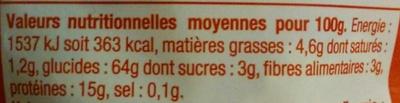 Pâtes d'Alsace Papillons (7 Œufs Frais au kilo de semoule) - Informations nutritionnelles - fr