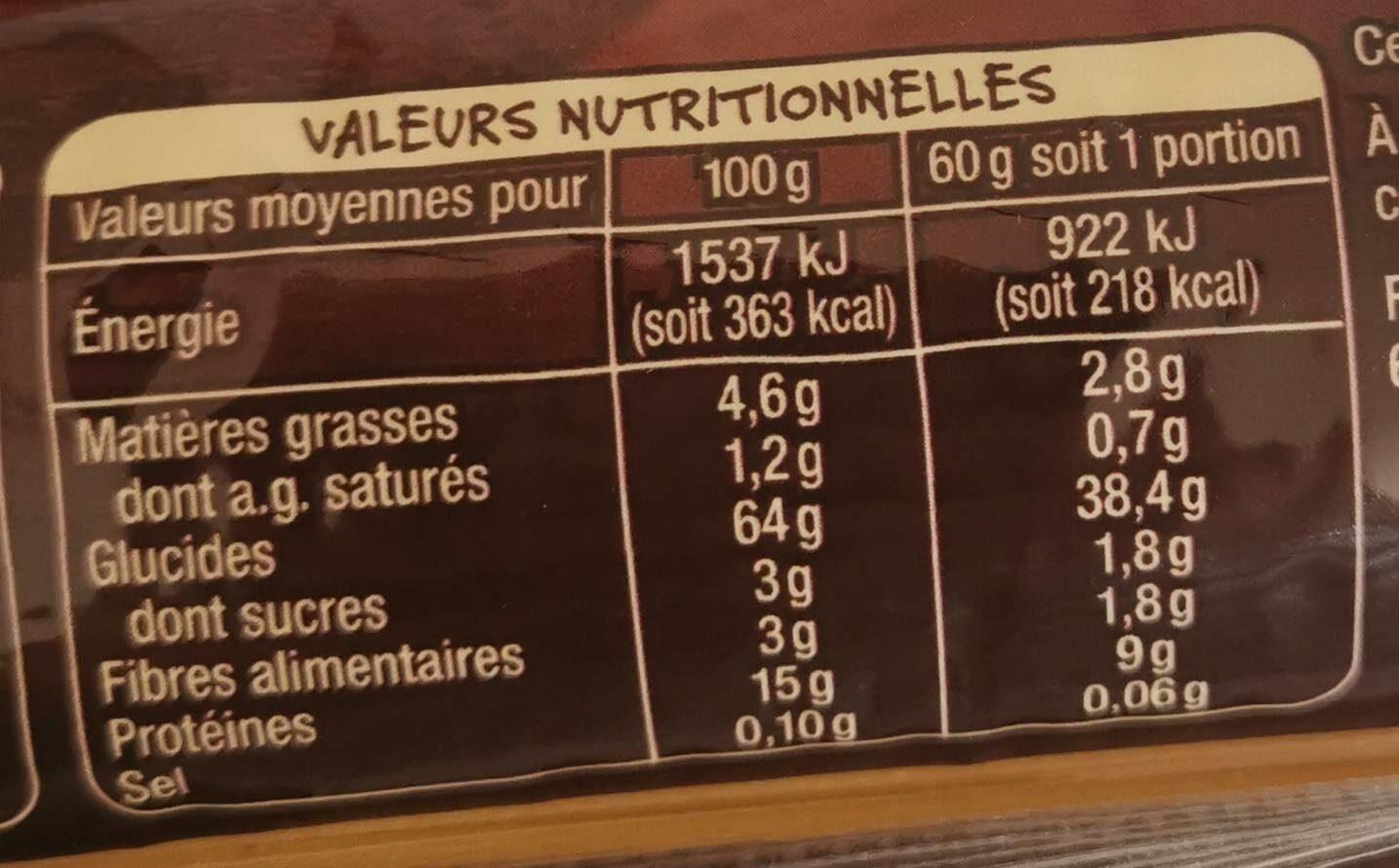 Pates d'alsace spaghetti terroir - Informations nutritionnelles - fr