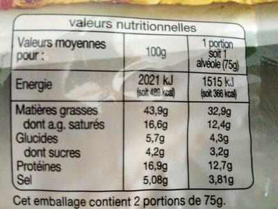 Dés de chorizo - Informations nutritionnelles - fr