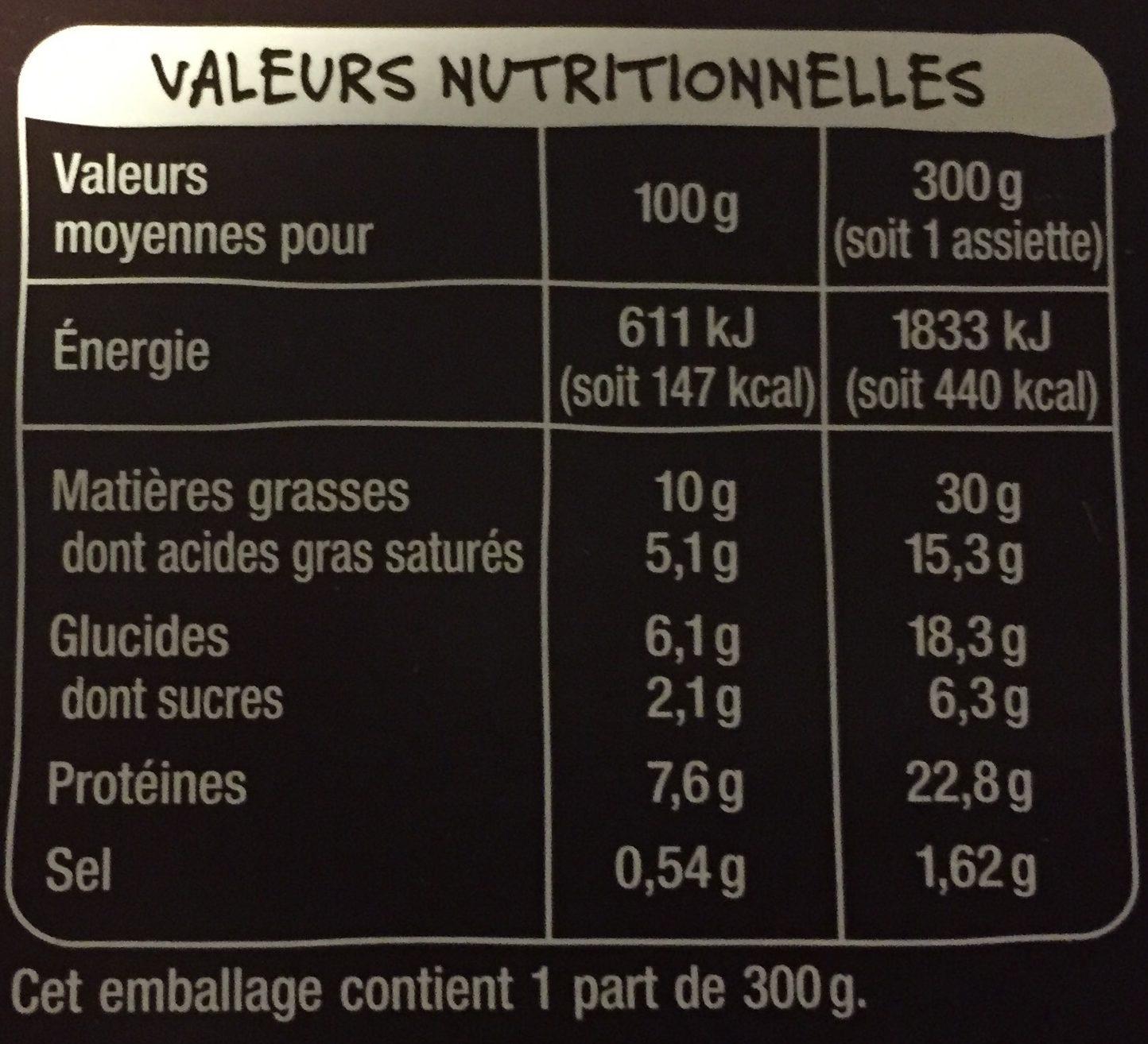 Langue de Bœuf & Écrasé de Pomme de Terre - Informations nutritionnelles