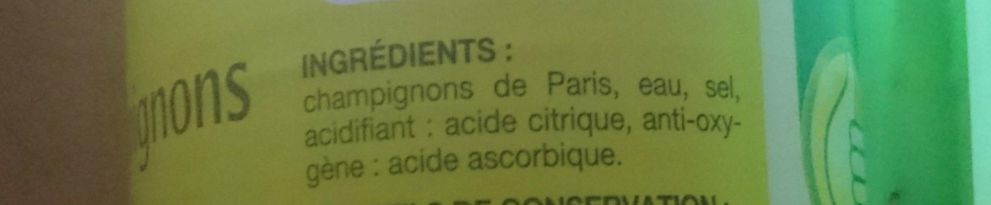 Champignons entier de Paris en conserve - Ingrediënten