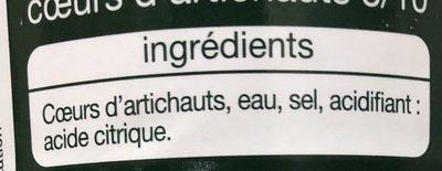 Cœur d'artichauts - Ingrediënten