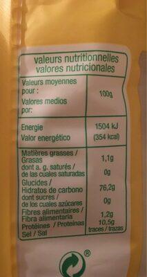 Riz BASMATI bio - Nutrition facts - fr