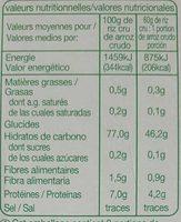 Riz Thaï - Informations nutritionnelles - fr
