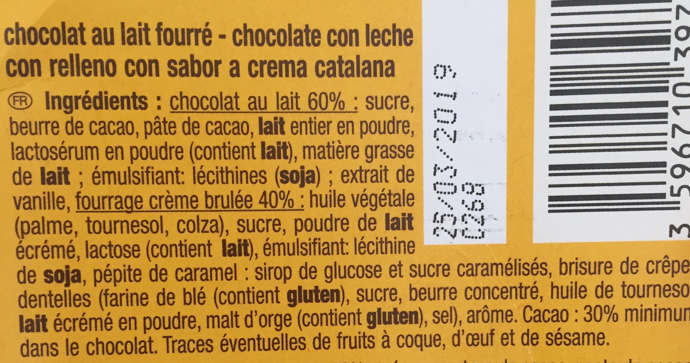 Chocolat au lait fourre facon creme brulee - Ingredients