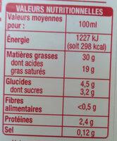 Crème Entière Semi Epaisse - Informations nutritionnelles - fr