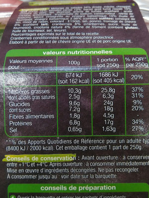 Pause Snack Salade Cévenole - Informations nutritionnelles - fr