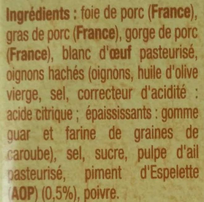 Pâté aux piments d'Espelette - Ingredients