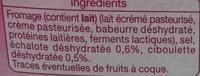 Fromage à Tartiner, Échalote & Ciboulette (23 % MG) - Ingrédients - fr