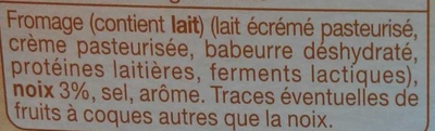 Fromage à Tartiner, Noix (25 % MG) - Ingredients - fr