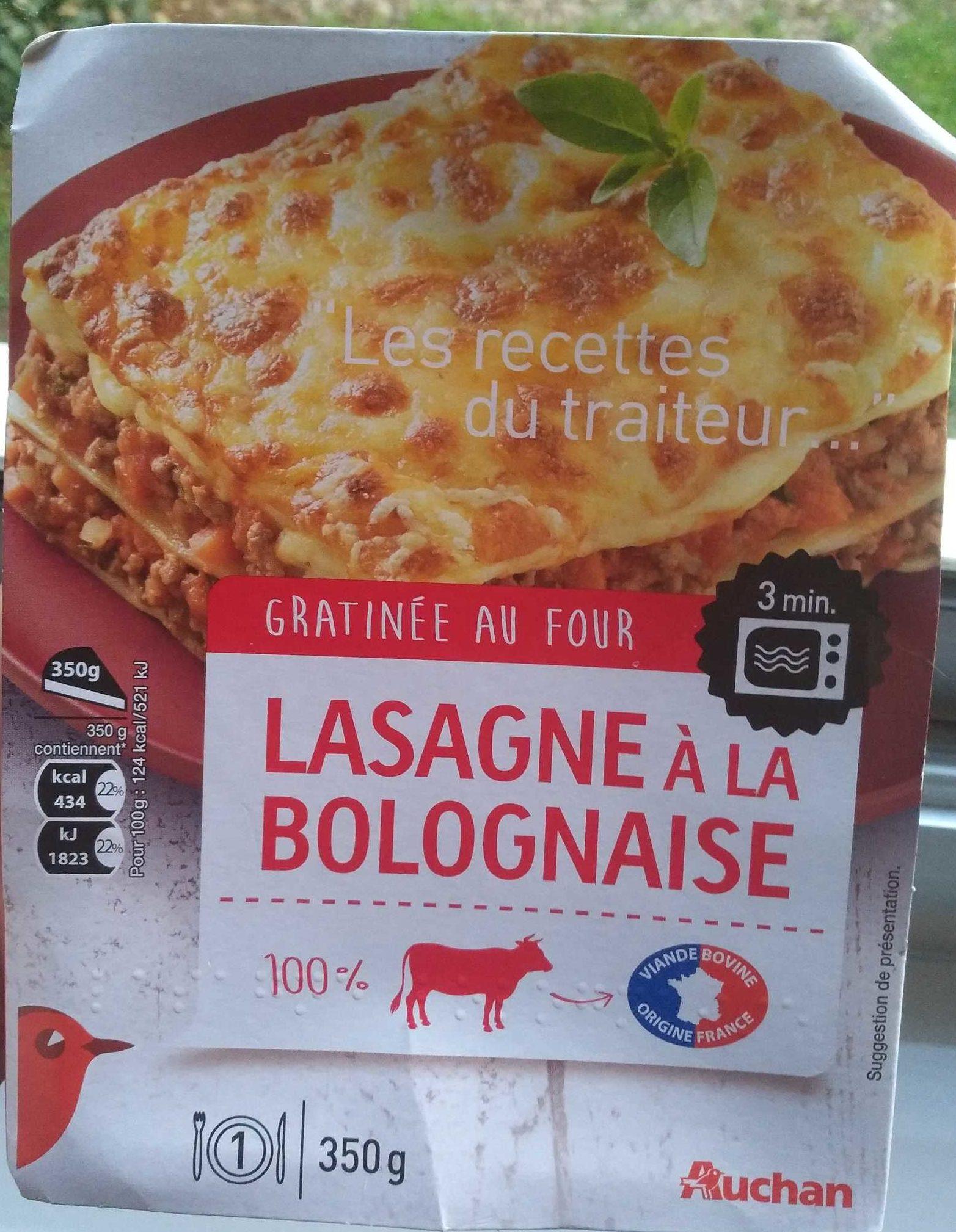 lasagne la bolognaise gratin e au four auchan 350 g. Black Bedroom Furniture Sets. Home Design Ideas