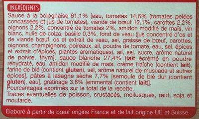 Lasagne à la Bolognaise Gratinée au Four - Ingredients