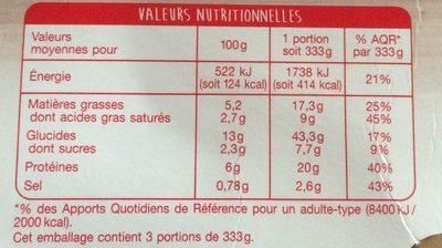 Lasagne à la Bolognaise Gratinée au Four - Nutrition facts