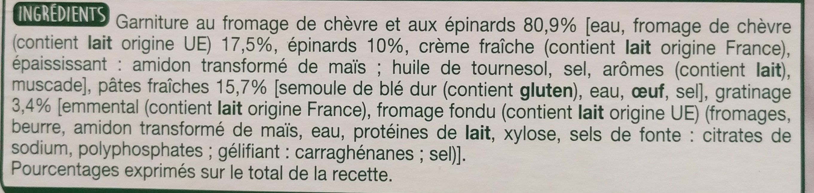 La Lasagne Chèvre Épinards - Ingrédients - fr