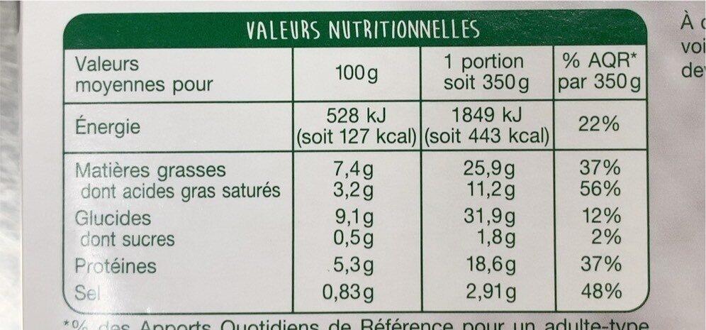 La Lasagne Chèvre Épinards - Informations nutritionnelles - fr