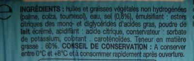 Margarine de cuisine 60% - Ingrédients - fr