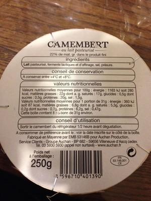 Camembert au lait pasteurisé 22 % MG - 2
