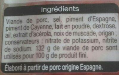 Véritable chorizo fort - Ingredients