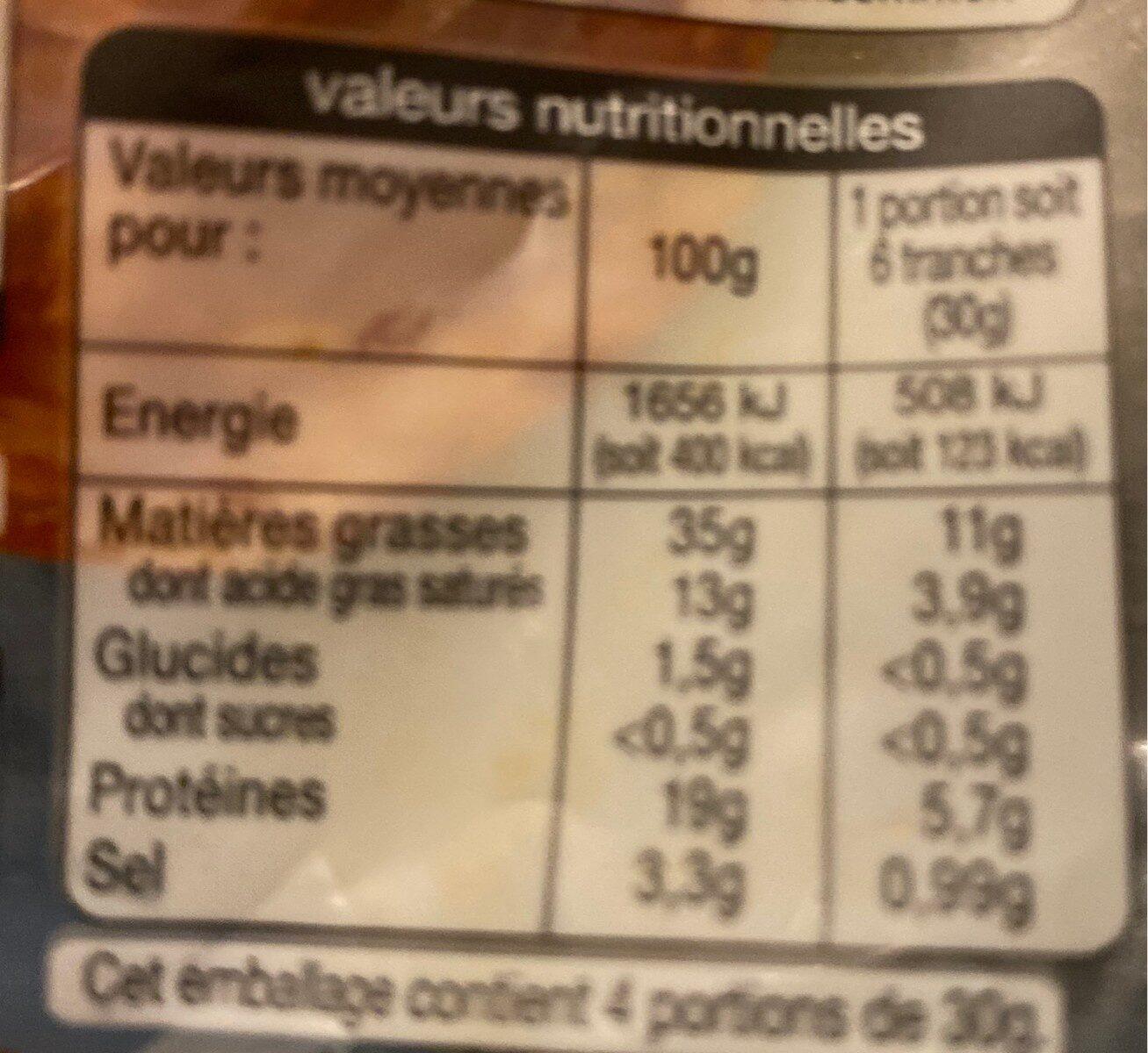 Véritable chorizo fort - Informations nutritionnelles - fr