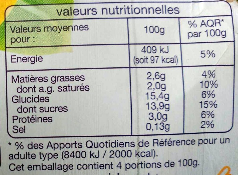 Yaourt Juste 3 Banane - Informations nutritionnelles - fr